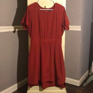 Madewell Red Silk Dress Size 12